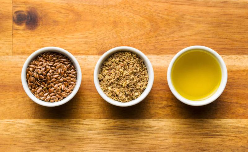 3 bols de lin en poudre, graines et huile - source d'oméga-3
