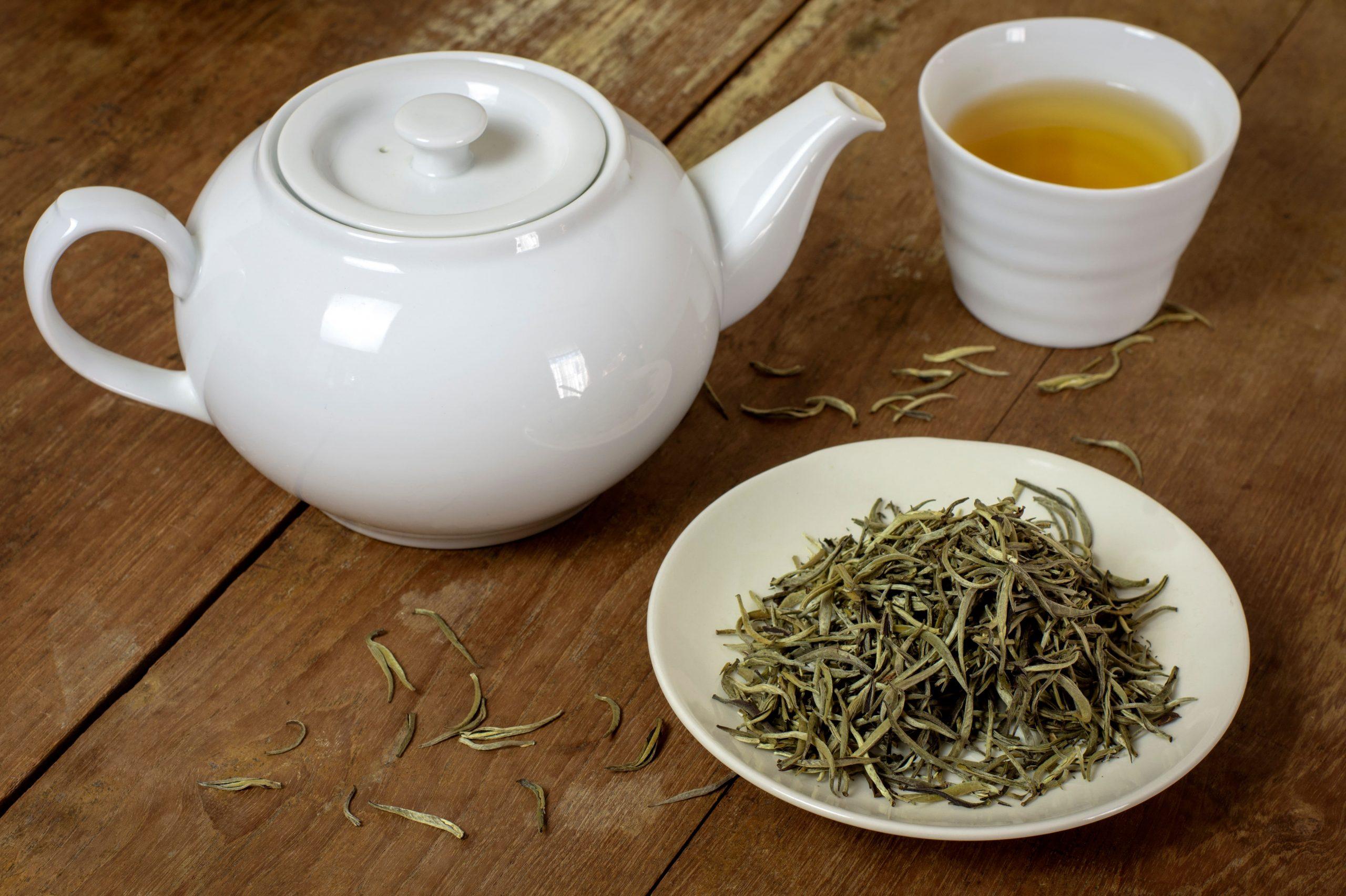 Tasse de thé blanc dans théière