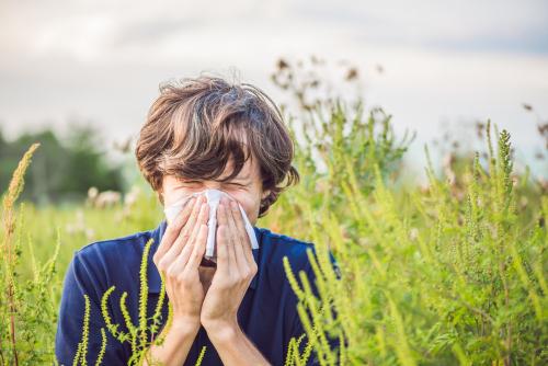 Homme dans un champs allergique